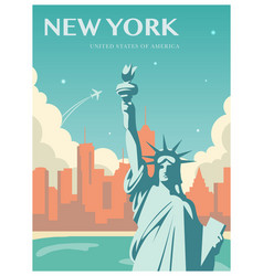 statue of liberty world landmark american symbol vector image