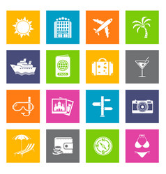 Summer and travel icons vector