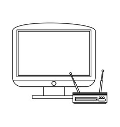 television and digital decoder black and white vector image