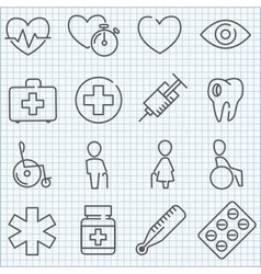 thin line medicine icons set vector image