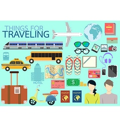 Things for traveling flat design vector image