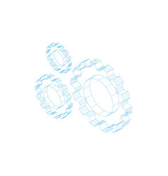 three outline gears vector image