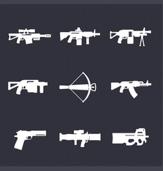 weapons firearms icons set automatic guns sniper vector image