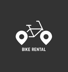 White bike rental logotype with pin vector