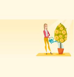 Woman watering money tree vector