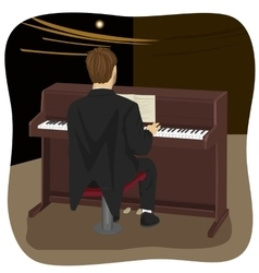 back view of young man playing brown upright piano vector image