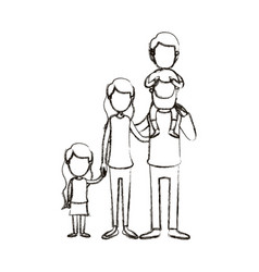 Blurred silhouette caricature faceless big family vector