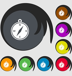 Compass icon sign symbols on eight colored buttons vector
