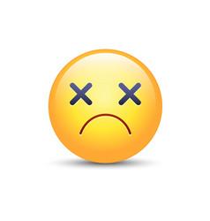 dizzy emoji face cross eyes emoticon icon sad vector image