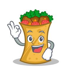 okay kebab wrap character cartoon vector image