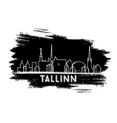 tallinn estonia skyline silhouette hand drawn vector image vector image