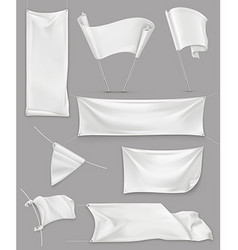 White banners and flags mesh set mockup vector image