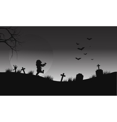 Halloween zombie and bat on gray backgrounds vector image vector image