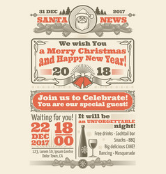 retro christmas newspaper with xmas typography and vector image vector image
