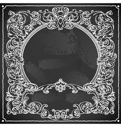 Vintage Floral Frame on Blackboard vector image