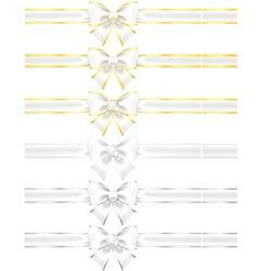 White bows with gold and silver vector image vector image