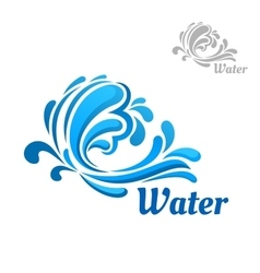 Blue wave with water splashes and drops vector image