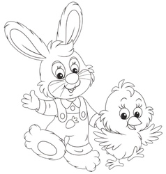 Bunny and Chick vector image vector image