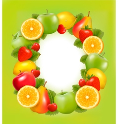 fresh fruit in frame green background vector image vector image