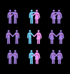 modern couples pictograms vector image