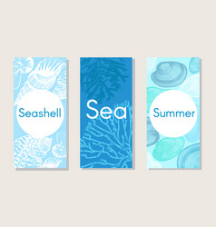 sketch marine nature vertical banners vector image