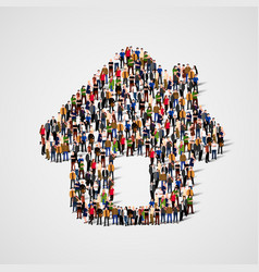 a group of people in a shape of house icon vector image