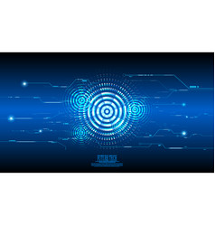 Abstract blue cyber circuit background vector