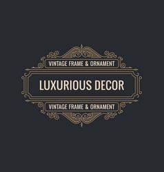 calligraphic elegant ornament frame lines vector image