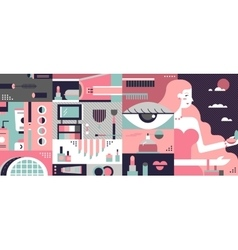Cosmetic background abstract flat vector