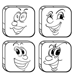 Four square faces vector image vector image