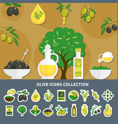 olives icons collection vector image