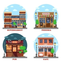 Pub and supermarket pizzeria cafe buildings vector image vector image