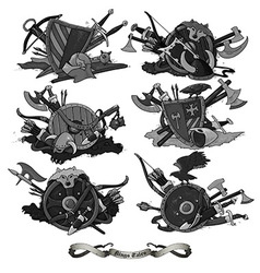 Shields medieval hand drawing vector