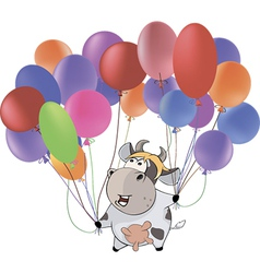 A small cow and multicolored balloons Cartoon vector image