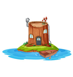 A wooden house on small island vector