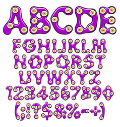 alphabet numbers purple slime with eyes vector image