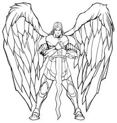 archangel michael standing line art vector image