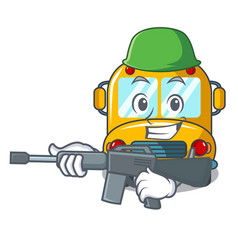 army school bus character cartoon vector image