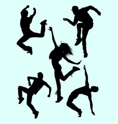 attractive modern dance male and female silhouette vector image