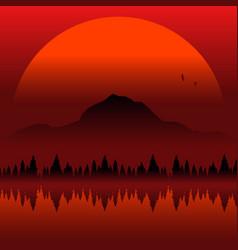 Autumn sunset minimal landscape vector