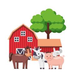 barn animals tree farm vector image