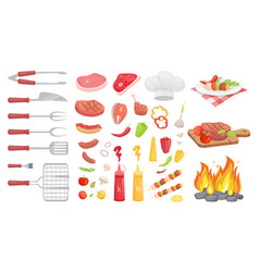 Bbq barbecue vegetables meat vector