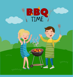 Bbq time banner cartoon style poster with people vector