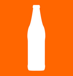 Beer bottle white icon vector