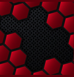 Black and red metal background with hexagons vector