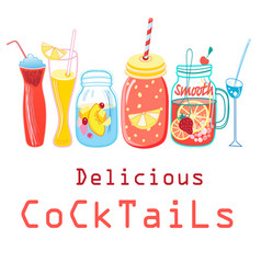 bright colored cocktails vector image