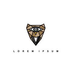 brown one eye owl logo logotype theme vector image