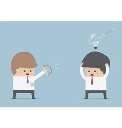 Businessman destroy others idea bow and arr vector