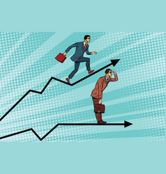 Businessmen running chart growth and look forward vector