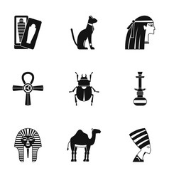cairo travel icons set simple style vector image